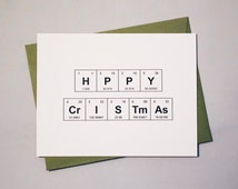"""SALE Christmas in July 4.00 Reg. 5.00 Happy Christmas Card Chemistry Periodic Table of the Elements """"HPPY CrISTmAs"""" / Merry Christmas Card"""