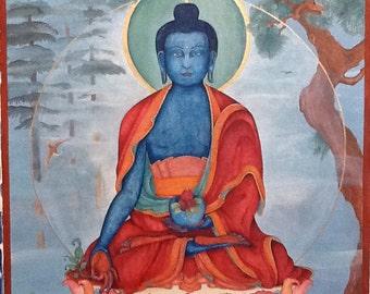 Lapis Blue Medicine Buddha Sutra, Bhaiṣajyaguru, King of Healing, Suryaprabha, Śākyamuni,  Amitabha Alternative Medicine, Herbal Medicine,