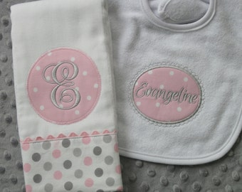 Personalized Baby Girl Burp Cloth and Matching Bib