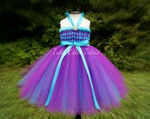 Flower Girl Woven Tutu Dress in Purple and Turquoise