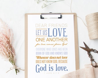 Bible Verse Art  -  1 John 4:7-8 - Scripture Print - Christian Typography