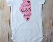 Custom Home Sweet Home State Onesie - All 50 States Available