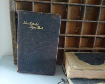 Book Religious, The methodist hymn book, black vintage book, 1933 religious book, old book, decorative book, song book
