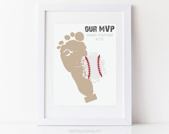 Sports Nursery Baseball Baby Footprint Art Print, Boys Room Wall Art, Personalized with your Child's Feet, UNFRAMED