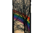 Rainbow Forest Trees Design UV Printed on Wood Phone Case for iPhone 5/5s, iPhone 6 and 6 Plus - WUV0006