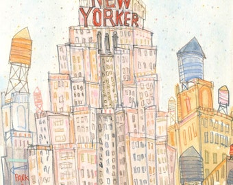 NEW YORKER, New York City Print, Signed NYC Wall Art, Watercolor Painting, Manhattan Skyscraper Building Architecture Sketch Clare Caulfield