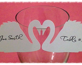 Kissing Swan Wine Place Cards