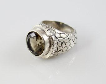 Handmade Sterling Silver Smokey Quartz Ring