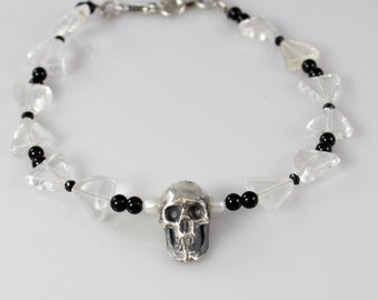 OOAK Bracelet with Handmade Sterling Silver Skull Bead and Quartz Bows
