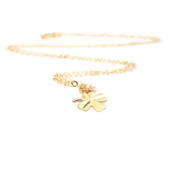 four leaf clover necklace, gold clover, tiny clover, gold filled clover, dainty gold necklace, delicate gold necklace, good luck necklace