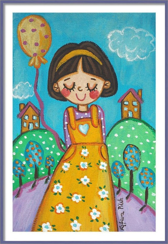 Little girl print little girl wall art fairytale little girl painting
