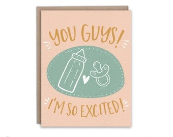 You Guys! I'm So Excited! // Congratulations Pregnancy Card, Congratulations New Baby Card
