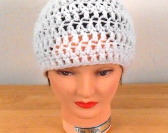 "Crochet Hat - White Hat Handmade 22"" - Autumn Hat - Fall Hat - Fashion Hat - Free US Shipping"