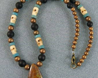 Boulder opal pendant necklace with ceramic, copper and bone beads OOAK