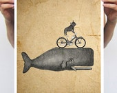 Bulldog on bike riding Whale Poster, Frenchie Art Print, Vintage Art Print, Old paper style, vintage whale, vintage decor, vintage print