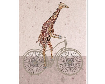 Giraffe on bicycle-Print Art Print Illustration Acrylic Painting Animal Painting Wall Decor Wall hanging animal on bicycle Coco de Paris