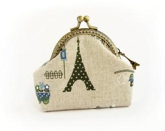 Coin Purse Paris Style, green Eiffel Tower Purse, french retro linen purse, blue love heart, purse with kisslock