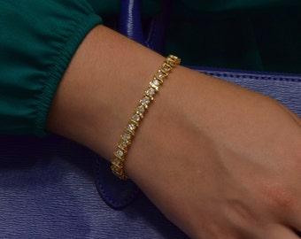 Yellow Gold Tennis Bracelet (14K Yellow Gold)