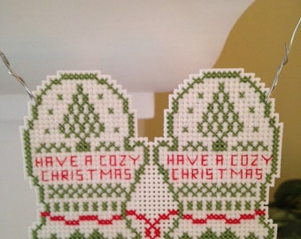 New Have a Cozy Christmas Holiday Mitten Cross Stitch Ornament