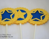 Kids Star Theme Cupcake Toppers, Set of 12, Blue and Yellow, Birthday, Baby Shower, MADE TO ORDER