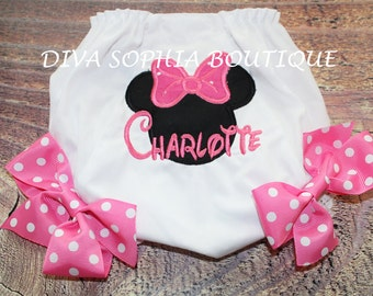 Personalized Pink Minnie Mouse Bloomer with Bows - Personalized Diaper Cover - Birthday