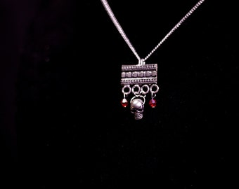 Silver Skull and Red Rhinestone Necklace