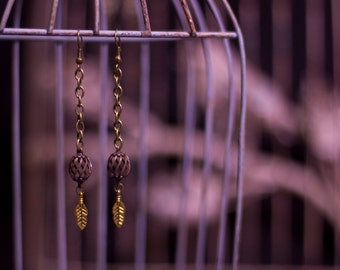 Brass Swirl and Feather Earrings