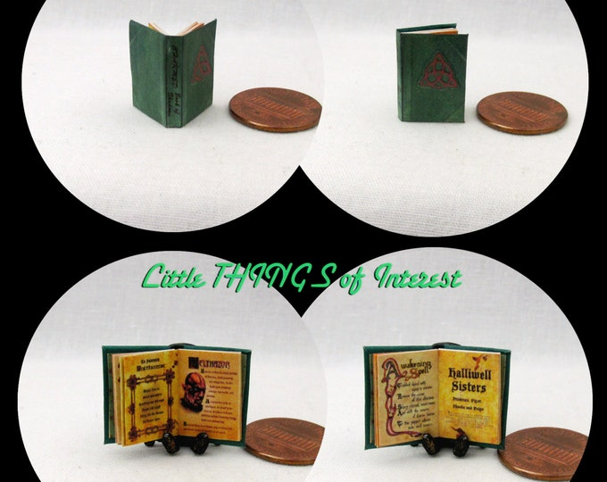 1:24 Scale Book CHARMED BOOK Of SPELLS Miniature Book Dollhouse Illustrated Book