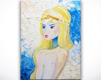 Modern Art Nude Portrait Painting ORIGINAL Palette Knife Abstract Girl Impasto Oil Art on 12x16 Canvas by Denisa Laura