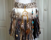 RESERVED for Tabby - Native American Inspired Fringe Bag  - Navajo Dream Catcher - Hippie Bag - Faux Arctic Wolf Fur - Tribal Bag