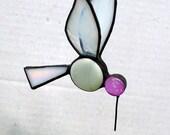 Hummingbird Stained Glass Suncatcher, Bird Ornament, Home Decor, Small Iridescent Glass Bird