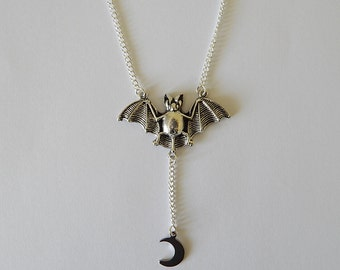 Silver Bat Charm Necklace, Bat Over The Moon Pendant, Bat charm, Moon Charm, Bat Necklace, Gothic Jewellery, Moon Necklace