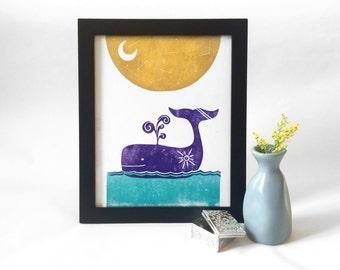 "Sunny Whale Under the Stars- 8""x10"" Block Print"