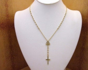 Gold Rosary Necklace Solid 14kt Gold QUALITY AAA QUALITY Yolanda Foster Housewives