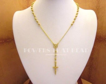 Gold Rosary Necklace SUPERIOR QUALITY 14kt Gold Filled with Gold Over Sterling Cross Rosary Necklace Housewives Beverly Hills Yolanda Foster