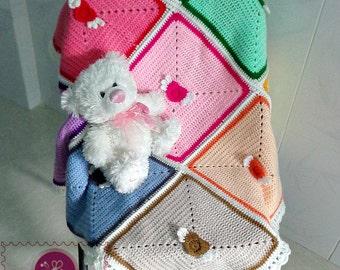 Crocheted angel heart baby blanket - free worldwide shipping