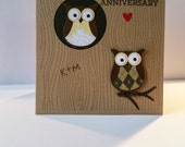 Happy Anniversary Owl Initial Card