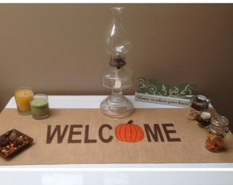 "Burlap Table Runner 12"", 14"", or 15"" wide with Welcome & a pumpkin for the ""O"" - Fall runner  Holiday decorating Home decor"