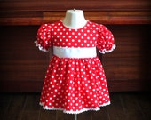 Vintage 1950s Red Polka Dot Dress by Steady As She Goes CUSTOM 18 24 mo 2T 3T Minnie Mouse Shirley Temple costume babydoll white Halloween