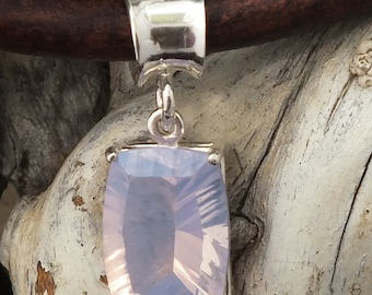 Lavender Quartz Gemstone pendant necklace, 10x14mm gemstone set in Sterling silver, 16 inch sterling chain, Made in USA, Free shipping