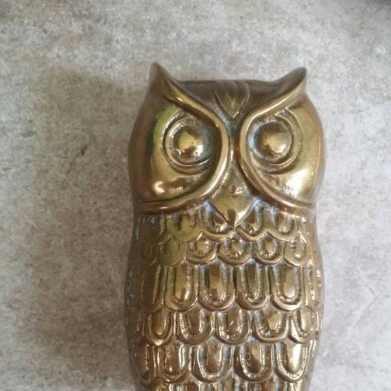 brass owl paperweight