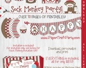 Sock Monkey Personalized Birthday Party DIY Printable Party Kit Instant Download Includes Invite & First Birthday Bonus Files!