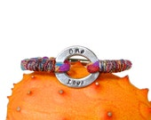 Womens Personalized Rainbow Bracelet, One Love, Your Words Bracelet, Hand Stamped, Love Wins, Multicolor, Equality Jewelry, LGBT, Unisex