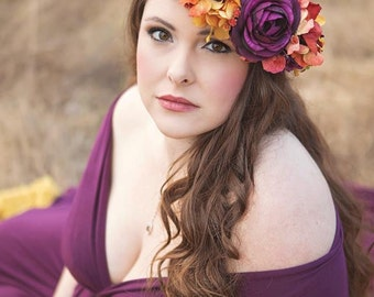 Mable Plum Floral Crown • Fall Floral Crown • Autumn Floral Crown • Bohemian Crown • Wedding Crown • Plum Floral Crown   Ready To Ship