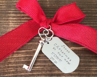 """Personalized Hand Stamped """"first Christmas in our new home"""" Christmas ornament"""