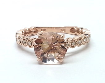 1.62ctw Morganite & Diamond 10kt Rose Gold Ring Size 6