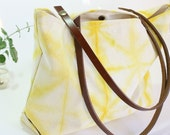 Shibori dye tote -Canvas totebag hand dyed bright yellow- Beach tote -Urban canvas bag -Canvas tote bag with leather handles - Summer tote
