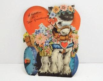 Vintage Donkey Valentines Day Card Vintage 1948 Hallmark Valentines Day Card for Granddaughter