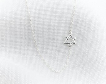 Silver Necklace - Silver Star Of David Necklace - Magen David necklace - Dainty silver necklace, Delicate sideways necklace, Jewish jewelry