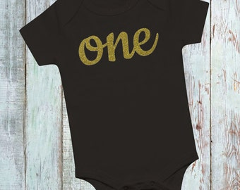 First Birthday Outfit - First Birthday Shirt - One Gold Glitter Shirt - First Birthday Shirt - Black and Gold Glitter First Birthday Outfit